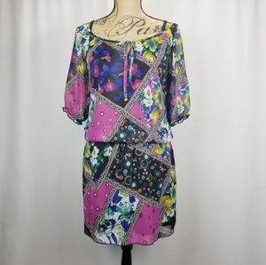 A. Byer Multicolored Dress Drop Waist Small